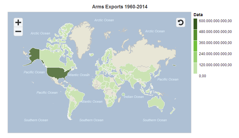 Global map with a visualisation of the volume of arms exports from 1960 to 2014