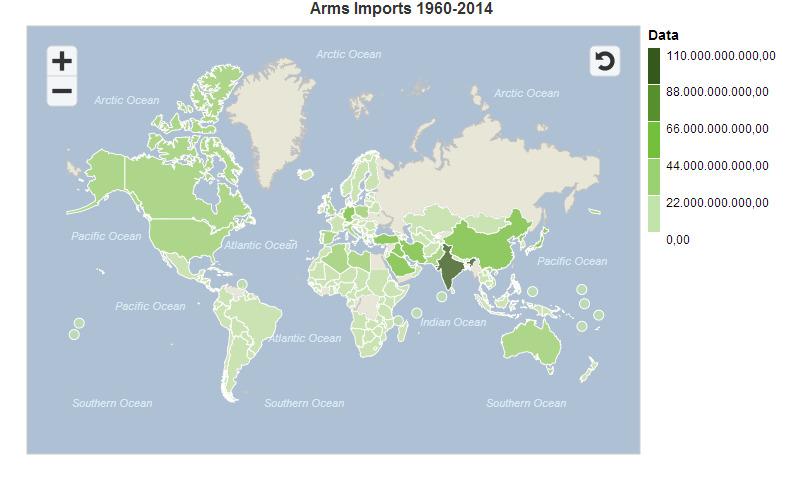 Map of total volume in US dollars of arms imports per country